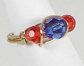 Fun Wrap Ring (Blue and Orange Swarovski) Size 7