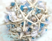 Made to Order Custom Details Bridal Bouquet of Shells (Simple Blue Pencil Starfish Style). FULL PAYMENT