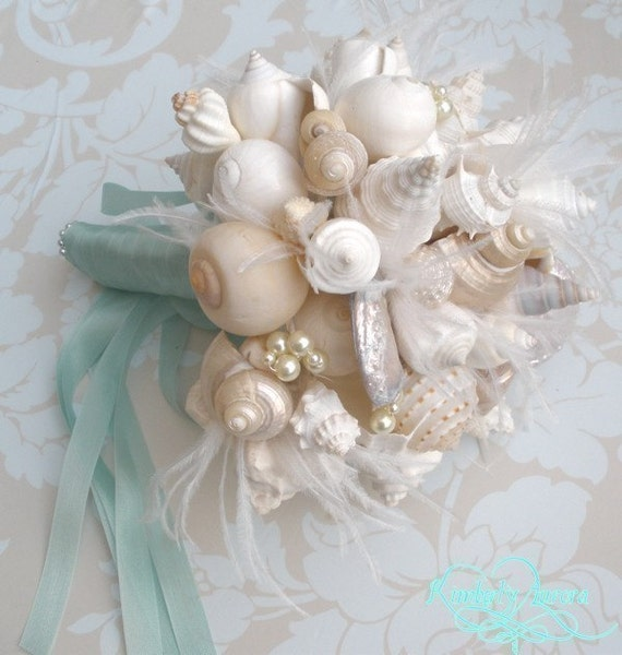 Custom Bridal Bouquet of Shells and Silk Flowers. DEPOSIT