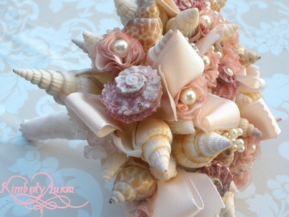 Made to Order Custom Details Bridal Bouquet of Shells and Silk Flowers. DEPOSIT