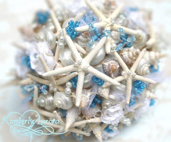 Made to Order Custom Details Bridal Bouquet of Shells (Blue Pencil Starfish Style). FULL PAYMENT