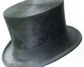 "22 1/2"" - Antique Large Beaver Fur Mens Top Hat"