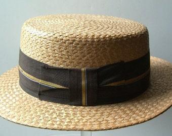 7 1/4 - Vintage Hard Straw Boater Type Mens Hat