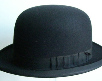 7 1/4 - Vintage Geo. I. Eakle Black Mans Derby Hat