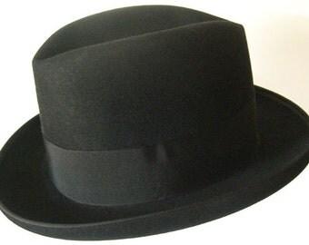 """22"""" - Vintage Black Fur Felt DOBBS  Mens Fedora Hat"""