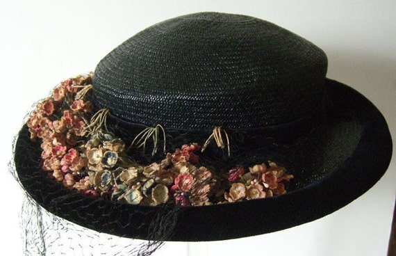 Vintage 1940s Blue Straw Floral Womans Hat
