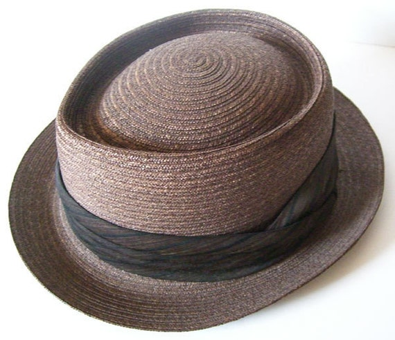 "23 1/2"" - Large Vintage Copper Brown Mans Straw Hat"