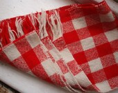 Warmest Kind of Scarf - Wool in RED and WHITE Check Plaid