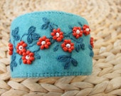 Turquoise Felt Hand Embroidered Cuff Bracelet