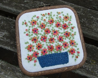 Hand Embroidered Framed Wall Hanging of a Bowl of Daisies