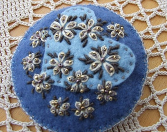 Hand Embroidered Blue Heart and Flowers Pin