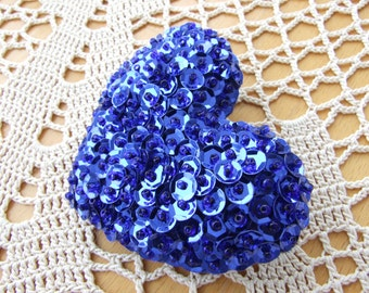 Bright Blue Heart Shaped Felt Pin