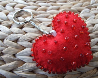 Red Heart Shaped Felt and Bead Key Ring / Hand Bag Fob