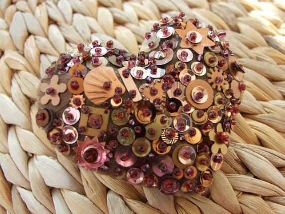 Bronze Sequin Heart Shaped Pin