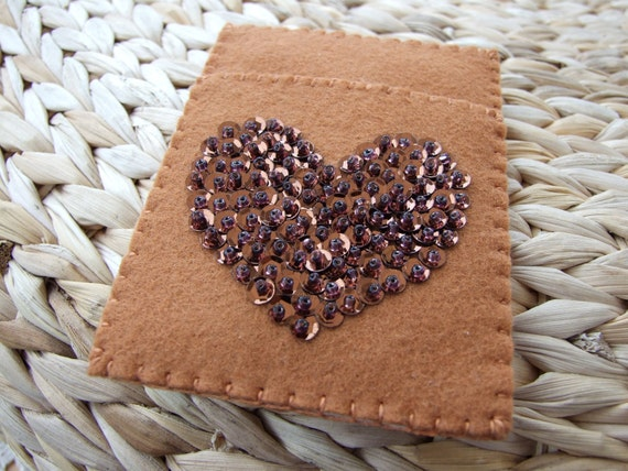 Felt Card Case With Bronze Sequin and Bead Heart