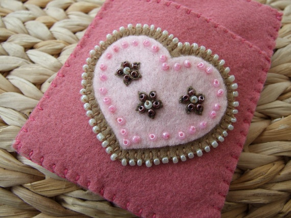 Pink Felt Hand Embroidered Card Case with Hearts and Beads
