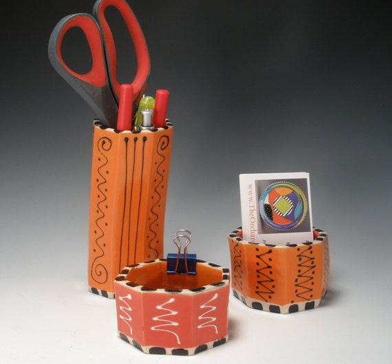 Desk Set, Get Organized, Pencil Holder, Business Card Holder, Paper Clip Holder, Office Organizer