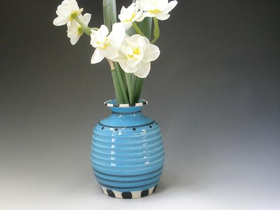Ceramic Vase, Blue Vase, Turquoise Vase, Turquoise and Black Vase, Candlestick Holder, Flower Vase