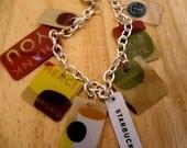 FREE SHIPPING - thank you upcycled starbucks bracelet