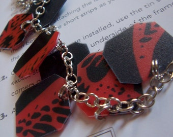 FREE SHIPPING - upcycled red and black plastic placemat bracelet