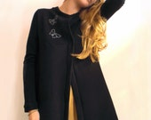 Black Butterfly Origami Coat in cotton Fleece, sizes from XS to XL, made to order