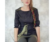 Orient Express- Olive Green Silk and Dragon Asian Printed Cotton Dress