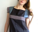 Black, Peacock blue and Violet gray Geometric Vintage inspired Silk Dress