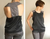 Flakes in Black & Gray- washed silk and technical fabric tank, size XS to XL