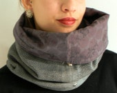 Reversible gray cotton fleece cowl , french printed cotton lining