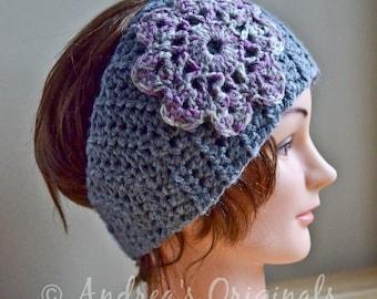 PDF PATTERN - Crochet Headband Head Wrap with Flower