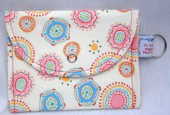 Whimsey Wallet - Pink Circus - with key chain ring