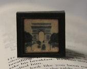 Vintage Paris Louvre and Eiffel Tower - Square Magnetic Bookmark