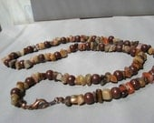 Necklace Autumn Jasper Gemstone Chips and Brown Wooden Beads