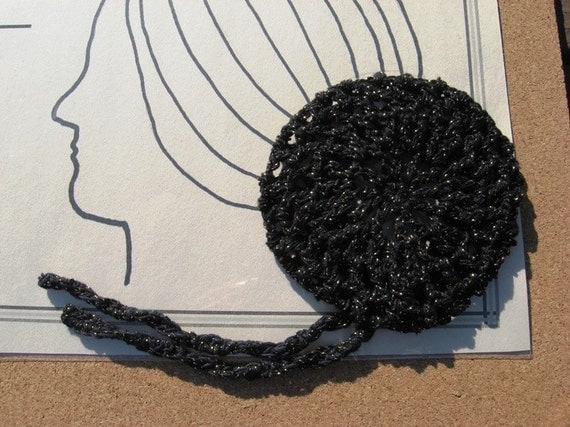Ballerina Hair Net in Black and Gold Crochet