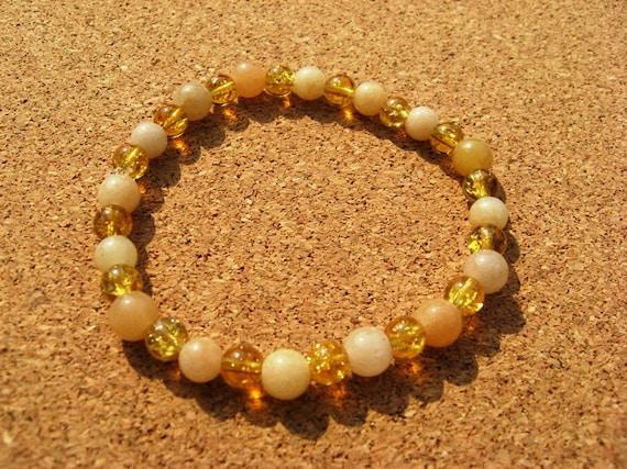 Quartz Bracelet Cream Quartz Gemstone Beads and Gold Color Crackled Glass - Small