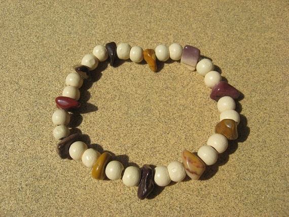 Mookaite Bracelet Multicolored Gemstone Chips and Wooden Beads