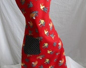 Full Apron roosters chickens red black dots reversible