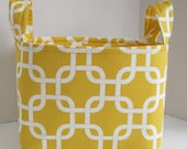 Large Yellow and White Mod Fabric Basket