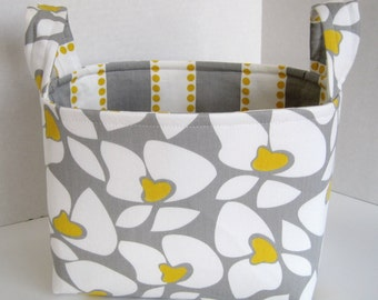 Large Gray and Yellow Mod Floral Fabric Basket