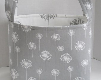 Large Gray and White Dandelion Floral Fabric Basket