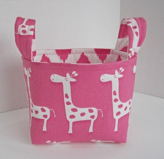 Hot Pink Gisella the Giraffe Fabric Organizer Basket