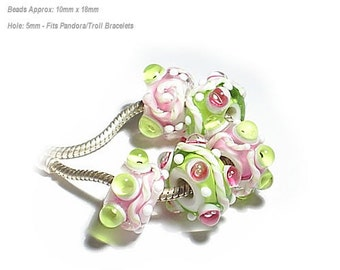 FLIRTWORLD Handmade Lampwork Beads  Pink Lime White fits 5mm Hole  Eurostyle Bracelets