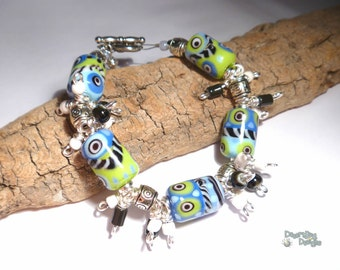 40% off SALE *  PEP in the STEP Handmade Lampwork Bead Bracelet Periwinkle Lime Black White Sterling Silver Artist Made Jewelry
