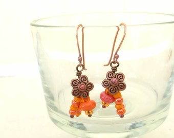 40% off SALE *  TARTLETS Handmade Lampwork Bead EARRINGS Formed  Hammered Coral Melon Orange Copper mix metal Artist Made Jewelry