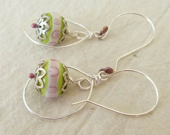 40% off SALE *  GIRL HOOPS Handmade Lampwork Bead Earrings Pink Green White Copper Silver handformed Hoops and wires  Artist Made Jewelry