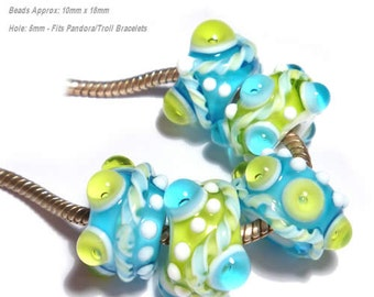 OCEAN WAVES  Handmade Lampwork Beads Blue Green White Will Fit  Euro Style 5mm Hole Set of 5