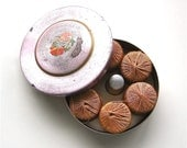So Darn Cute - Antique Pink Tin Holding Darning Spools