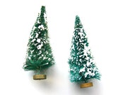 Covered With Snow - Vintage Pair of Bottle Brush Trees