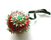 Glitz and Glam - Vintage Handmade Red, Green, and Gold Ornament