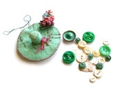 Hats off To Sewing - Vintage Handmade Needle Book and Buttons